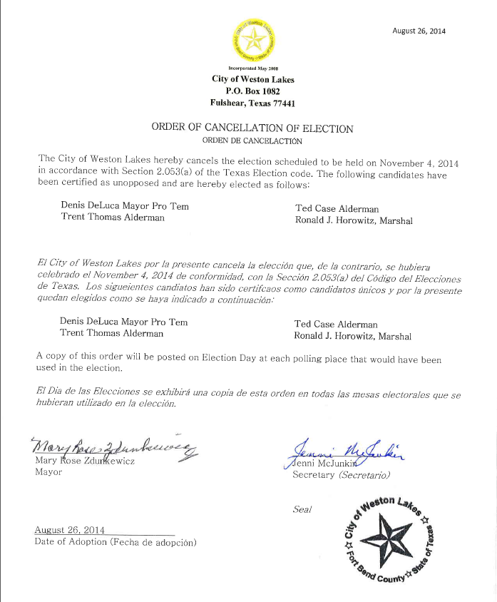 Order of Cancelation of Election 2014