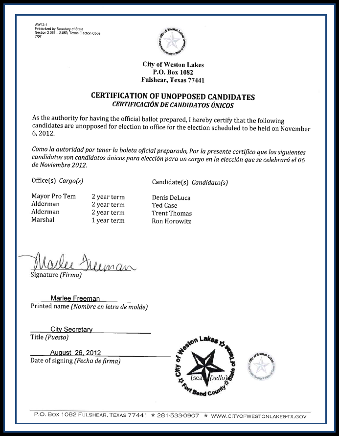 Certificate of Unopposed Candidates 2012