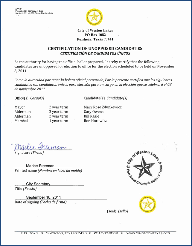 Certification of Unopposed Candidate 2011