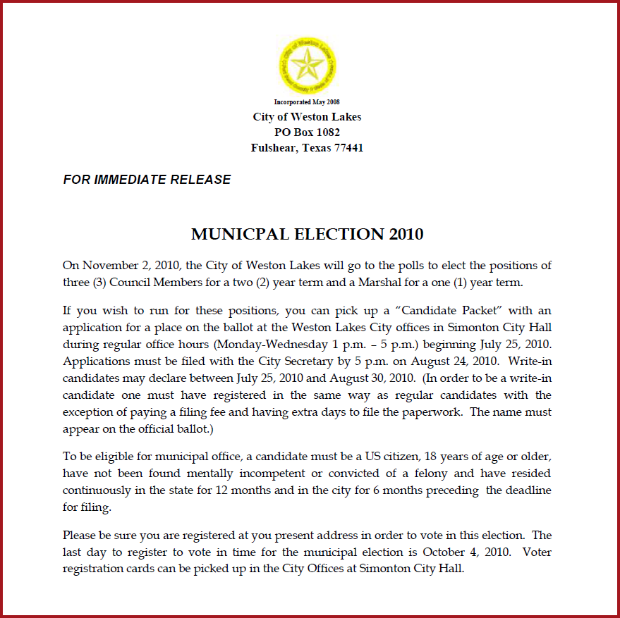Notice of Election 2010