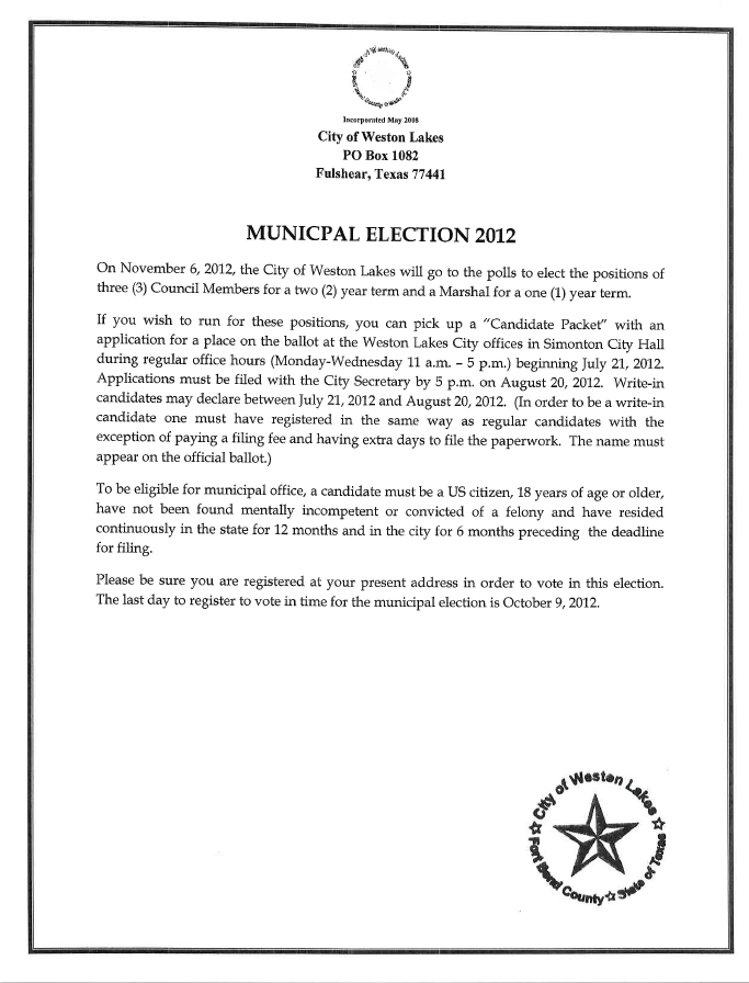 Notice of Election 2012
